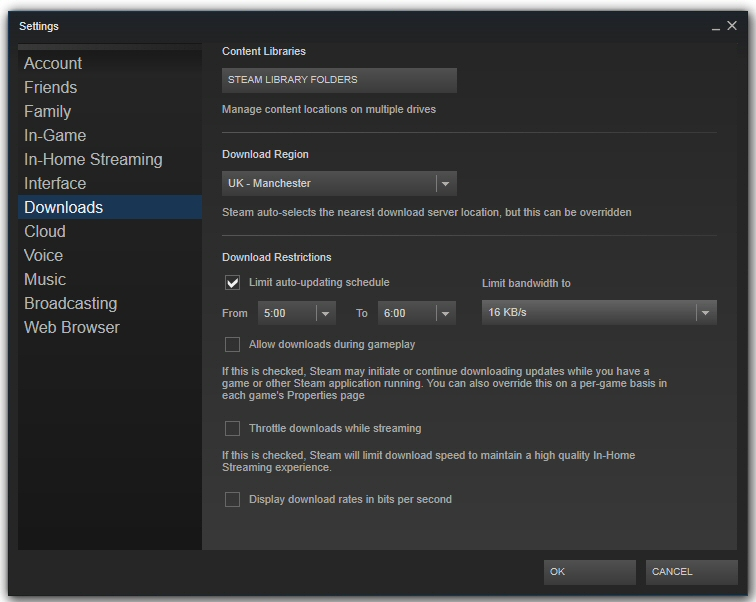 Steam download settings screen